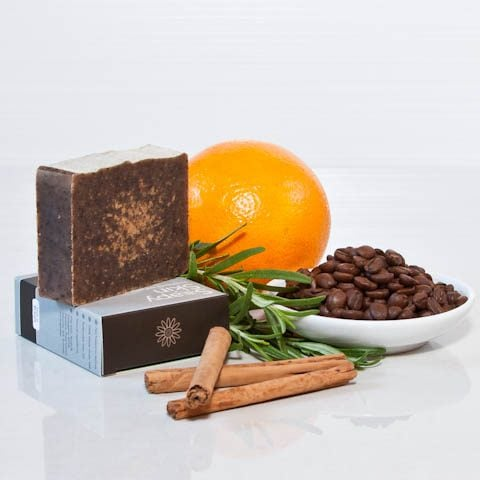 Soapy Skin Goats Milk Soap - Honey Coffee boxed and unboxed with an orange, cinnamon sticks, coffee beans and a sprig of rosemary