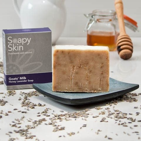 Soapy Skin Goats Milk Soap - Honey Lavender boxed and unboxed with a pot of honey and a milk jug