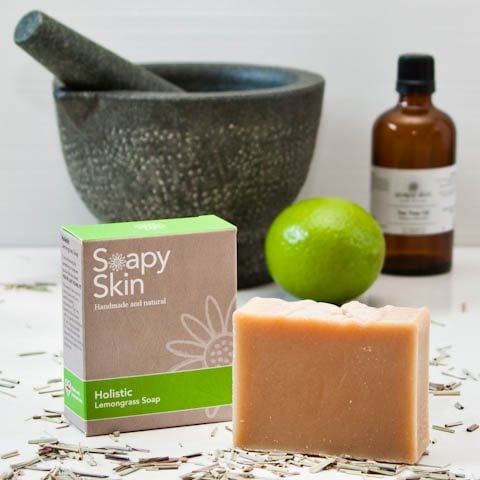 Soapy Skin natural handmade lemongrass soap boxed and unboxed with Essential oils and a lime