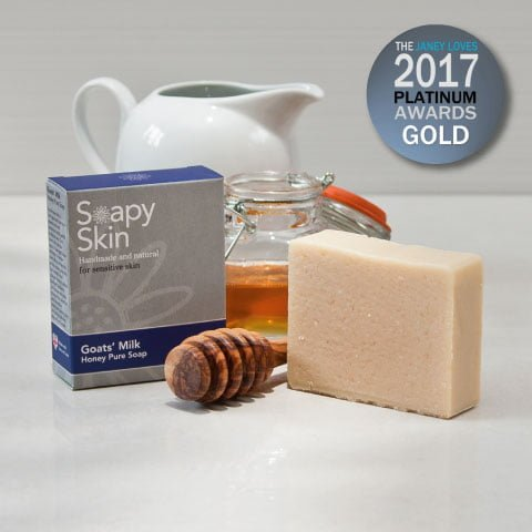 The Janey Loves Gold award winner 2017. Soapy Skin Goats Milk Soap - Honey Pure boxed and unboxed with a pot of honey, and a milk jug