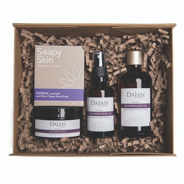 Slumber Box products in front of gift box