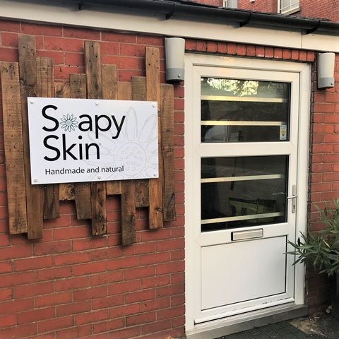 Outside the Soapy Skin Factory Shop and Manufacturing Studio. Rear of, 18 Bath St, Bolton. BL1 2DJ