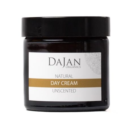 A Natural Day Cream for dry and combination skin in an glass amber jar
