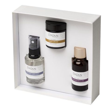 The Natural Spa Collection by Soapy Skin. Personalise your gift; the Natural Spa Collection contains your choice of a pot of face cream or body lotion, a bottle of room and linen mist and a bottle of Blooming bath oil. The products are arranged in a white gift box.