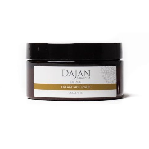 An Organic Cream Face Scrub that is blended from natural exfoliants and incorporated into an organically certified cream base. Suitable for all skin types. Packaged in a plastic amber pot.