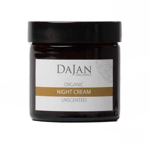 An Organic Night Cream for dry and mature skin that deeply nourishes, conditions and hydrates. Unscented and suitable for sensitive skin. Packaged in an glass amber jar.