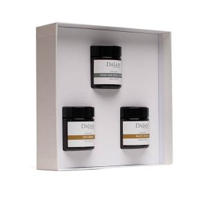 The Organic and Natural Cream Collection by Soapy Skin. The Organic and Natural Cream Collection contains a day and night face cream and a hand and body lotion. Unscented and suitable for sensitive skin. The products are arranged in a white gift box.