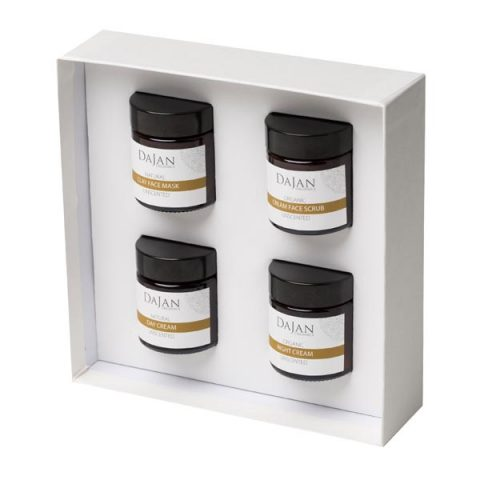 The Organic and Natural Skincare Collection by Soapy Skin. The Organic and Natural Skincare Collection contains a face scrub, clay face mask, day and night face creams. Unscented and suitable for sensitive skin. The products are arranged in a white gift box.