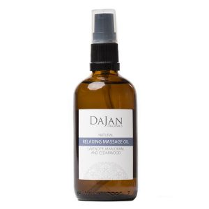 Dajan Organics relaxing massage oil in an amber bottle