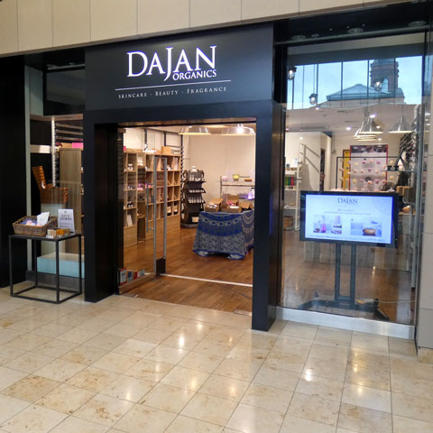 Outside Dajan Organics. Market Place Shopping Centre, Bolton. BL1 2AL.