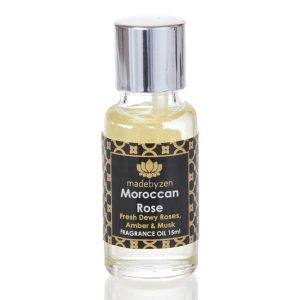 Moroccan Rose Signature Fragrance Oil in clear bottle with silver cap