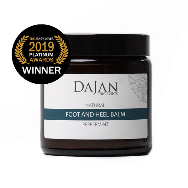 Award winning 100g of Dajan Organics Peppermint Foot and Heel Balm in a glass amber pot