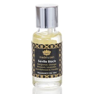 Seville Black Signature Fragrance Oil in clear bottle with silver cap